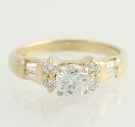 Mariage - Diamond Engagement Ring - 14k Yellow White Gold Round Solitaire w/Accents .83ctw F3909