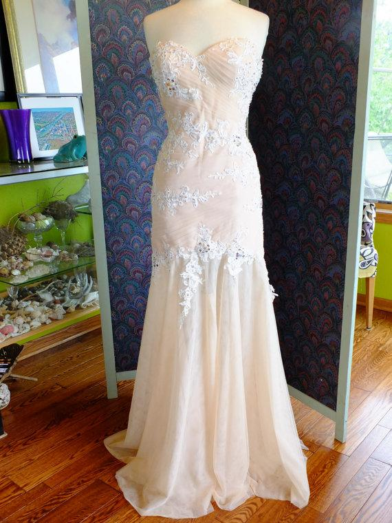 Wedding Dress Flapper Inspired Tulle Lace Rhinestone Great Gatsby ...