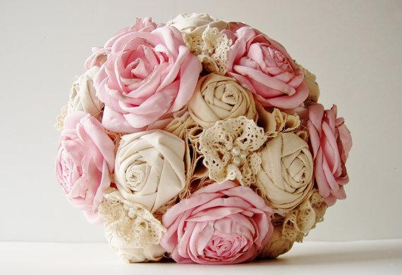 Свадьба - Vintage Bridal Bouquet, Fabric Flower Bouquet,  Wedding Bouquet,  Pink Roses