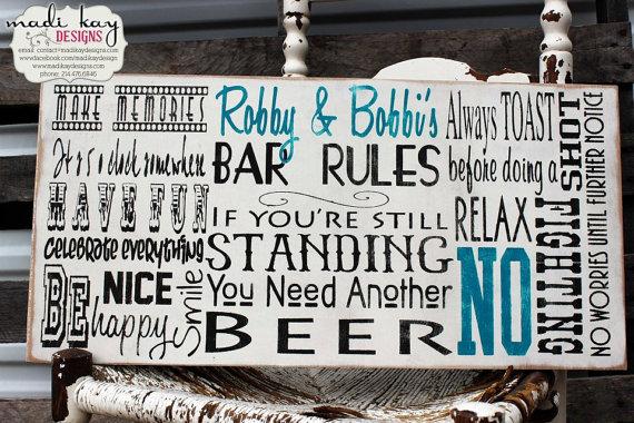 Man Cave Rules : Bar rules sign on wood or canvas man cave custom pub