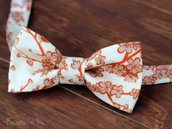 Mariage - Boys Bow Tie -Tan and Orange Cherry Blossom Flowers on a Soft Cream Woven Cotton Bow Tie, bowtie for infant, toddler, child
