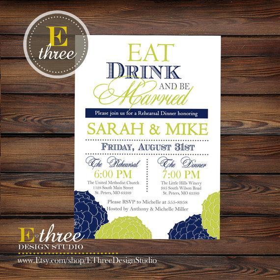 زفاف - Printable Rehearsal Dinner Invitation - Wedding Rehearsal Invitation - Navy and Lime Green Floral Rehearsal Dinner Invitation
