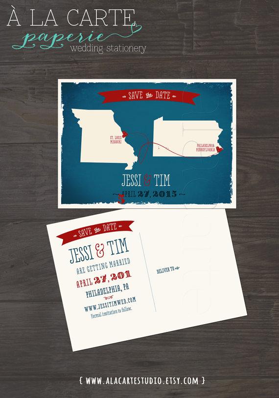 زفاف - Navy Two States Save the Date Postcard - Wedding Stationary