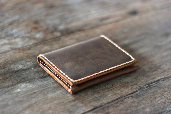 Hochzeit - Leather Credit Card Wallet, Groomsmen Gifts, Wallets for Him, Wallets for Her, Birthday, Graduation - [Listing # 010]