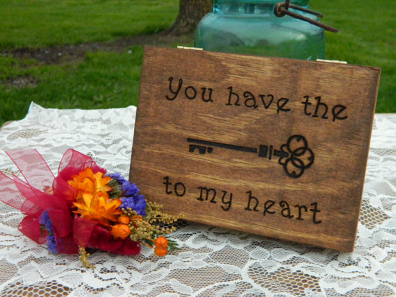 Mariage - Wooden Wedding Ring Box - You Have the Key to My Heart Ring Box for Ring Bearer - Rustic