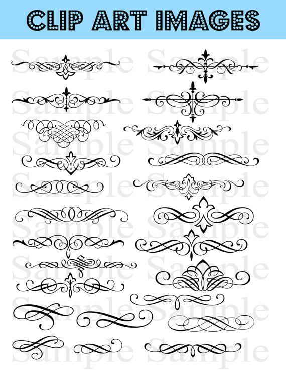 زفاف - Swirls Wedding Clipart INSTANT DOWNLOAD Swirl Clip Art Wedding Digital Clip Art Flourish Clip Art Calligraphy Clip Art