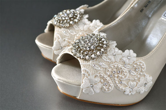 58d6ebcc5c486 Silk Lace Wedding Shoes - Custom Color Choices- Wedding Peep Toe 4