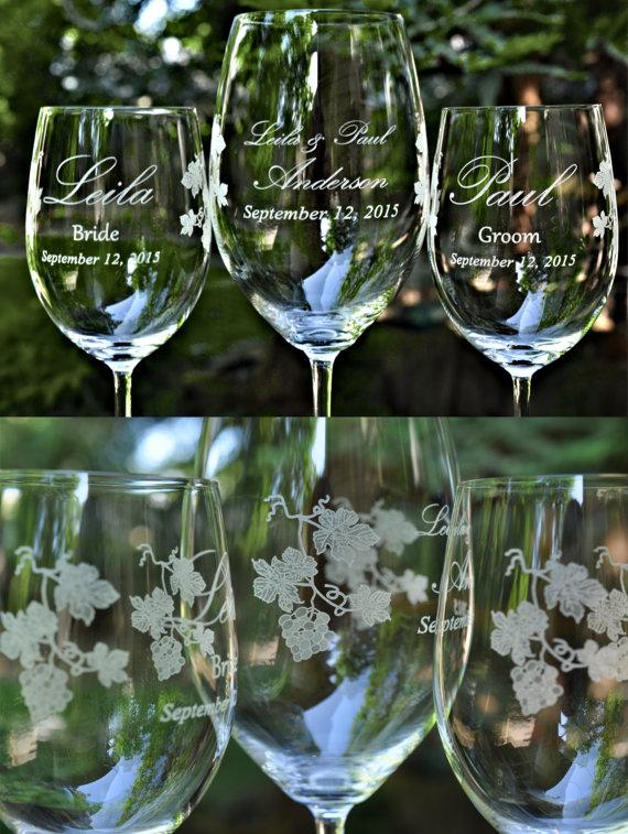Mariage - Wedding Unity Wine Set  - Three Crystal Wine Glass Set with Grape Ivy Design - Artwork by Design Imagery Engraving