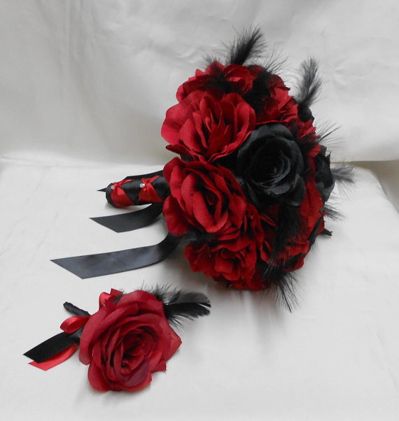 Wedding Bridal Bouquet Your Colors 2 Piece Red Black Rose Black ...
