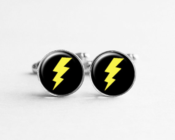 Mariage - Lightning Bolt Cufflinks Cuff Links, Birthday Gift, Geekery Jewelry, Wedding Cufflinks, Gift for Him, Groom Cufflinks, C036