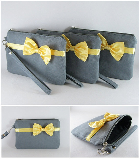 زفاف - Set of 4 Bridal Wedding Clutches - Gray with Little Yellow Bow Clutches - Made To Order
