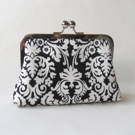 Mariage - SALE Wedding clutch, black damask clutch, bridesmaids purse, black and white wedding, brides clutch, maid of honor clutch metal framed purse