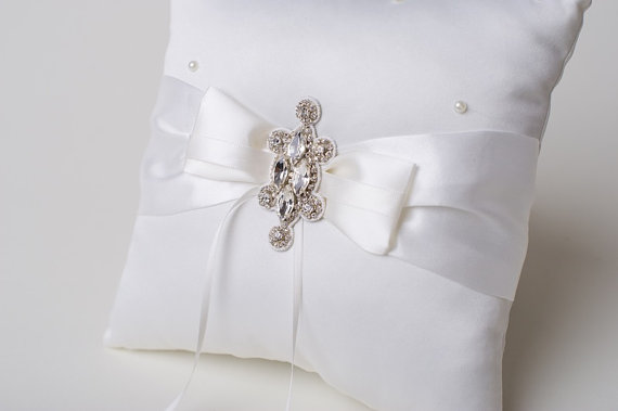Wedding - Ring Bearer Pillow Rhinestone Crystal Couture Ivory Bridal Pillow with Bling
