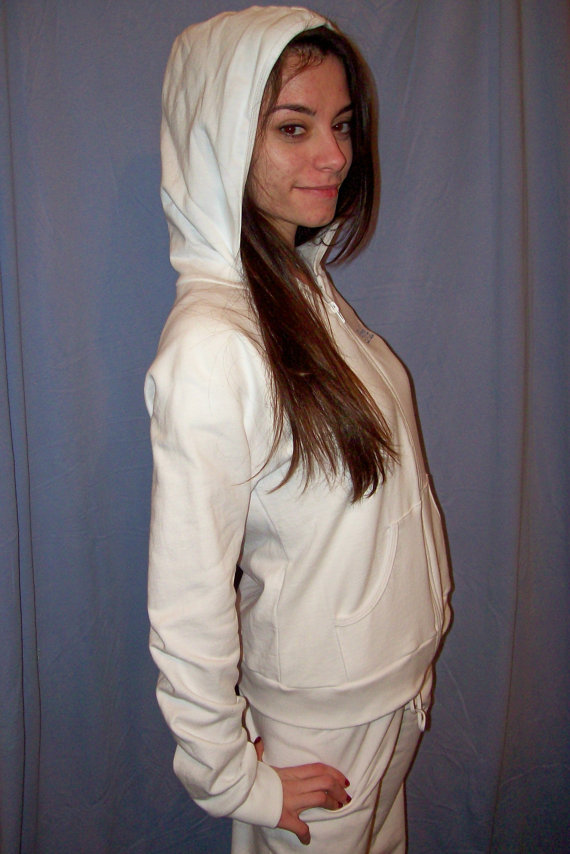 Wedding - Bridal hoodie and sweatpants white with Pale blue rhinestone crystal Swarovski BRIDE  Medium and heart