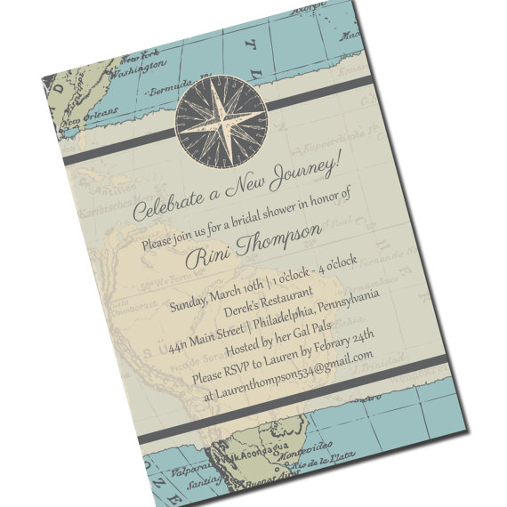 travel bridal shower invitation map personalized printable file or print package available new journey 00013 pia7
