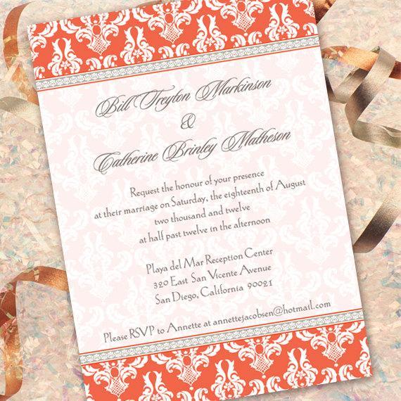 زفاف - damask wedding invitation, bridal shower invitation, tangerine invitation, damask invitation, girl party, wedding invitation, IN153_1