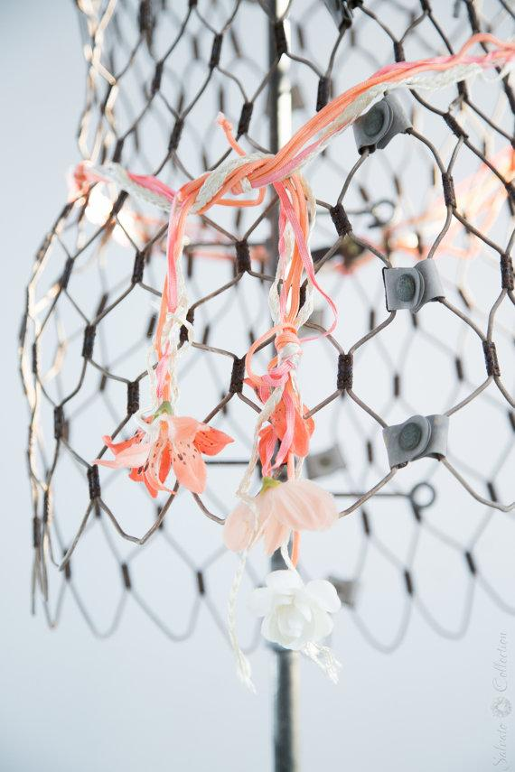 زفاف - Vintage Flower Belt - Bridal Accessory. Coral Pink Wedding.