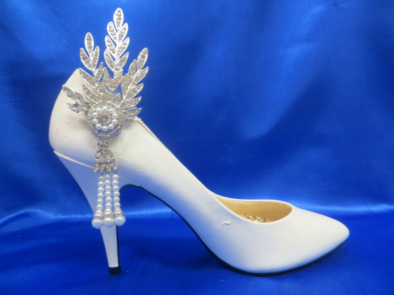 Silver Shoe Clips Gatsby 1920s Flapper Shoes Art Deco Great Formal Bridal Wedding