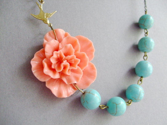 Mariage - Bridesmaid Jewelry Set,Beadwork,Coral Flower Necklace,Turquoise Jewelry,Statement Necklace,Gift Jewelry,Bib Necklace(Free Matching Earrings