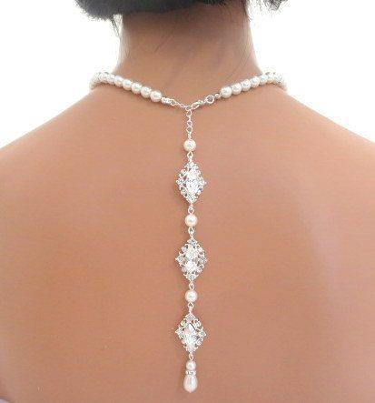 زفاف - Backdrop Necklace, Bridal Pearl Necklace, Wedding Back Drop Necklace, Rhinestone Necklace, Statement Necklace