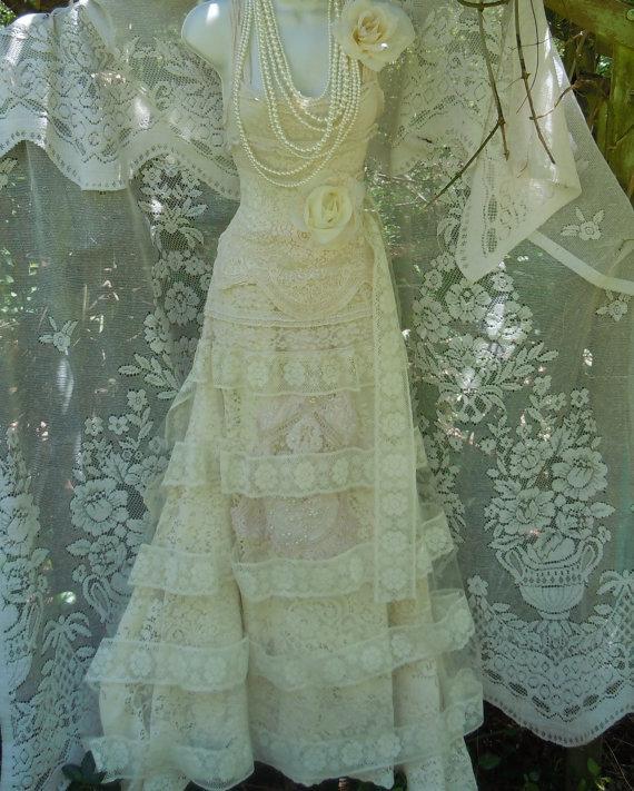 Wedding - Lace wedding dress ivory cream  tulle vintage antique romantic  small medium  by vintage opulence on Etsy