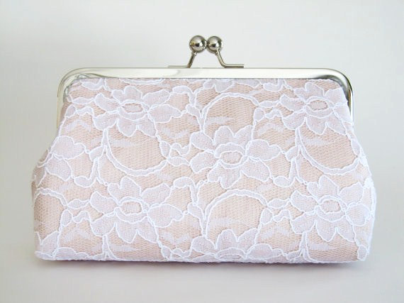 Wedding - Blush Bridal Silk And Lace Clutch,Bridal Accessories,Wedding Clutch,Bridal Clutch,Bridesmaid Clutches