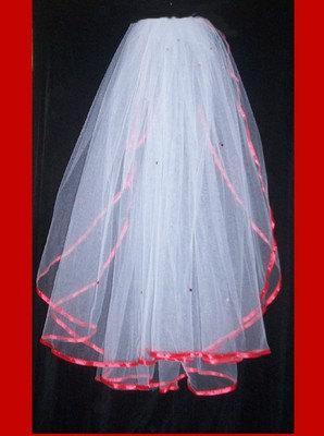 Mariage - white 2 tier bridal veil with red ribbon edge and red crystals Ready to wear with comb attached.