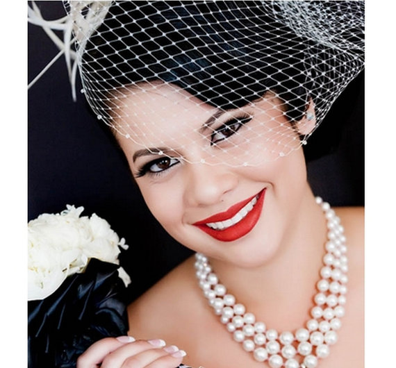 Mariage - Bridal Birdcage Veil with Swarovski Crystals, Celebrity Fashion, White Wedding, Ivory Hair Accessory, VERA CRYSTAL
