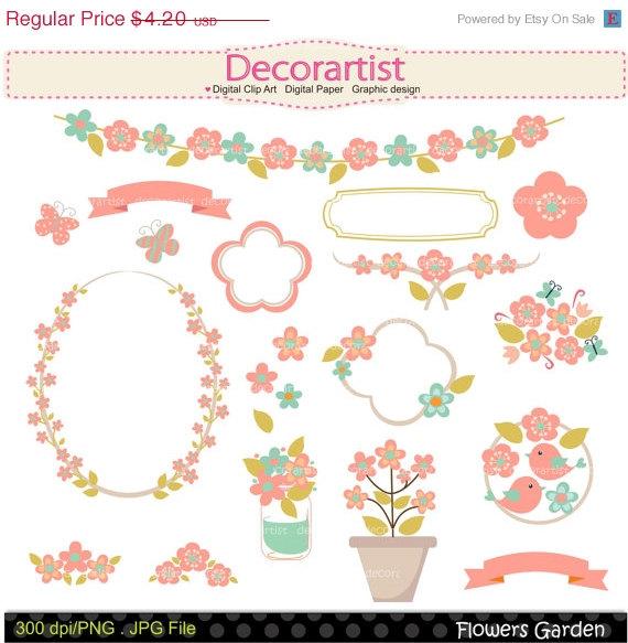 Свадьба - SALE Flowers clip art,wedding clip art,flowers frames,flowers garden,flowers bouquet,flower clip art,floral clip art,INSTANT DOWNLOAD