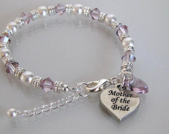 Mother Of The Bride Bracelet With Crystal Heart Groom Bridal Party Jewelry