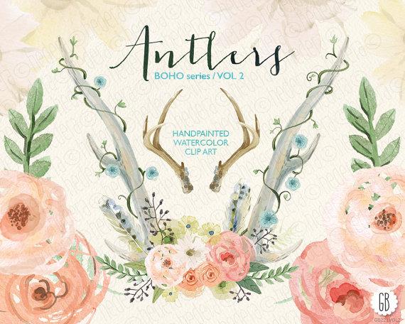 زفاف - Watercolor flower antlers, juliet roses, peonies, wedding flowers, laurels, poise, florals, floral clip art, watercolor invite, VOL. 2