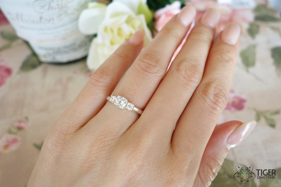 Mariage - 1 Carat 3 Stone Round Filigree Engagement Ring, Flawless Man Made White Diamond Simulants, Wedding, Bridal, Sterling Silver or 14k Gold