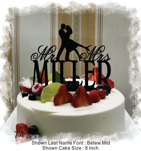 Mariage - Silhouette  Cake Topper , Monogram Cake Topper Mr and Mrs  With Your Last (Family)Name  - Handmade Custom Rustic Wedding Cake Topper