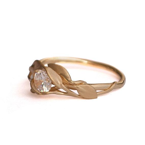 Mariage - Leaves Engagement Ring - 18K Yellow Gold and Diamond engagement ring, engagement ring, leaf ring, filigree, antique,art nouveau,vintage