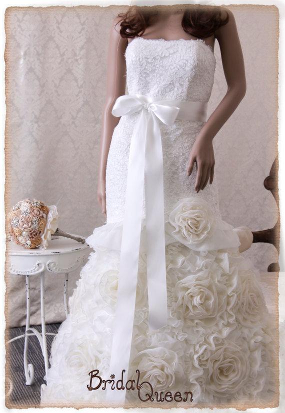 Mariage - OFF WHITE Bridal Sash, Wedding Sash, Bridal Belt, Off White Bridal Sash, Satin Ribbon Sash