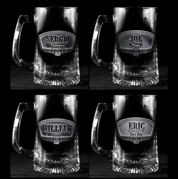 Mariage - Groomsmen Gift, Engraved Best Man, Groomsman Beer Mugs, Set of 8