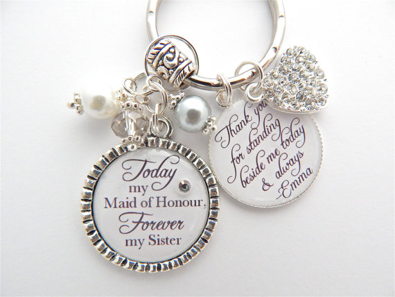 Свадьба - Forever my SISTER, BEST FRIEND Maid of Honor of the Bride Wedding Quote Junior Bridesmaid Jewelry Mother of the bride Gift Sister In-Law