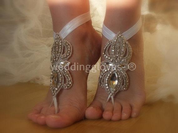 Свадьба - Rhinestone anklet,  Beach wedding barefoot sandals,  Barefoot Sandals, Sexy, Yoga, Anklet , Bellydance, Steampunk, Beach Pool