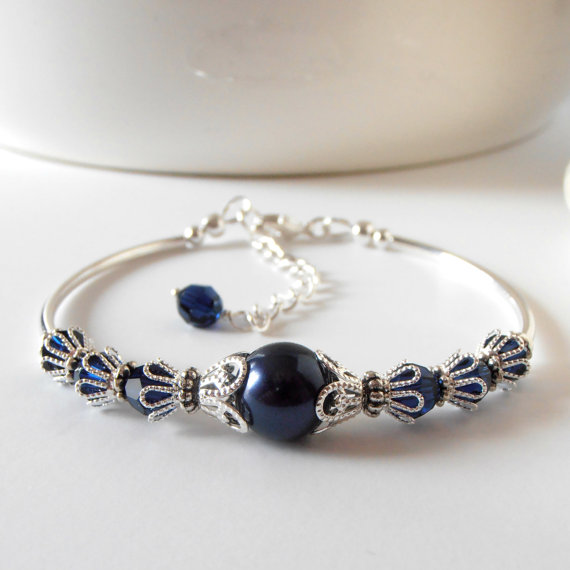 Mariage - Navy Pearl Bracelet, Pearl Bridesmaid Bracelet, Silver Filigree, Swarovski Crystallized Elements Wedding Jewelry, Dark Blue Bridesmaid Gift