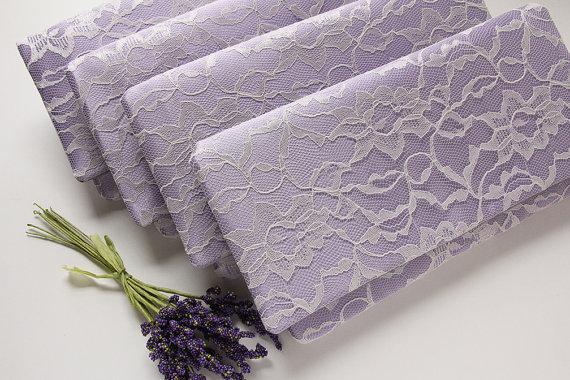 Mariage - Lavender Satin Clutches, Set of 7, Lace Bridesmaid Clutch, Purple Wedding Clutch, Personalized Bridesmaid Gift, Alternative Wedding Bouquet
