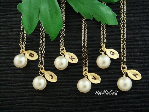 Mariage - 8 Sets Bridesmaid gifts Initial Necklaces, Custom Monogram Leaf Charm and Pearl GOLD Fill Necklaces, Flower girl, Wedding Bridal jewelry