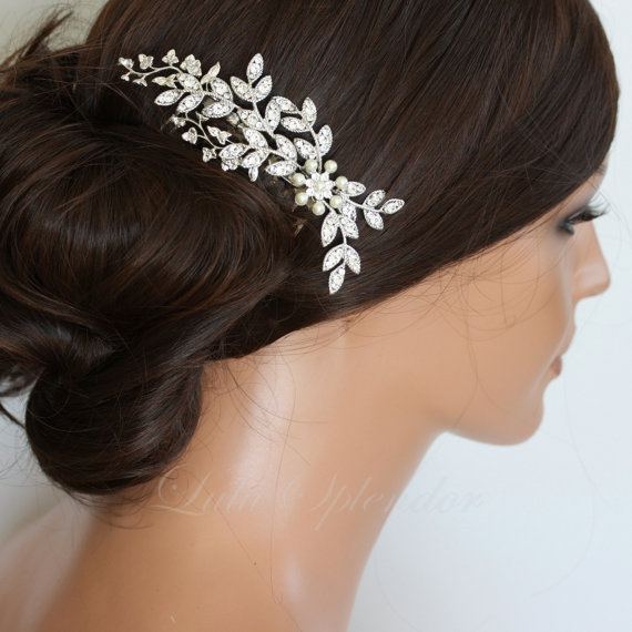 Wedding - Wedding Hair Accessory Crystal Leaf Comb Rhinestone Silver Vine Bridal Hair Comb White Ivory Pearl NEVE