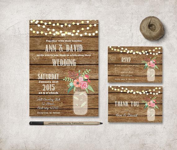 زفاف - Rustic Wedding Invitation, Digital File, DIY Printable Stationery Set - Country Mason Jar Invitation
