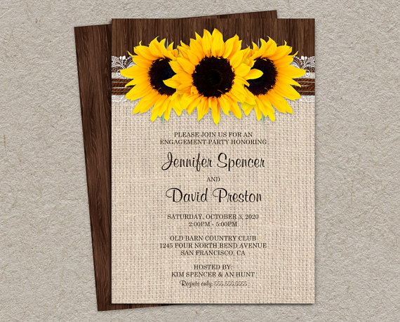 Wedding invitations sunflower wedding invitation rustic burlap and - Rustic Sunflowers Engagement Party Invitation Diy