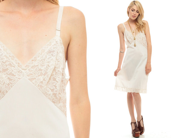 1869783724 Slip Dress 70s Mini Lace Sheer Lingerie White Plunging Neckline Vintage  1970s Deep V Neck Empire Waist Spaghetti Strap Nightgown Medium