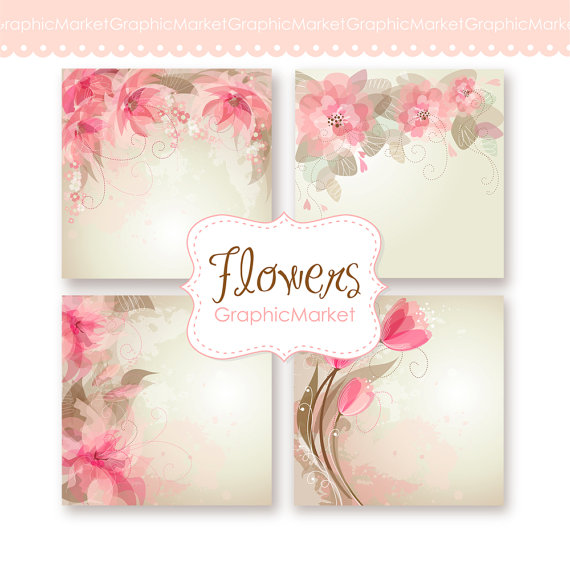 Wedding Digital Floral Card For Invites Scrapbooking 4