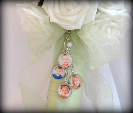 Mariage - 4 Photo Wedding Bouquet Charms (2 photos, 3 photos or 5 photos also)