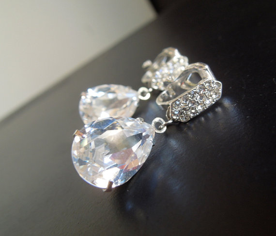 Clip On Bridal Earrings Swarovski Teardrop Rhinestones Rhinestone Crystal Destiny