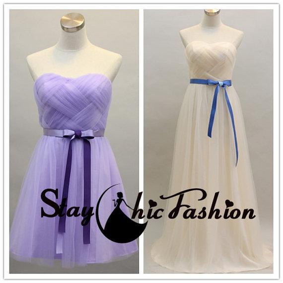 Wedding - Satin Bowknot Waist Short Weaven Bust Tulle Bridesmaid Dress 2015 for Women, Long Gathered Bust Sweetheart Strapless Homecoming Dresses