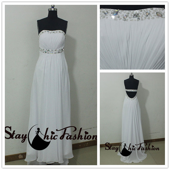 Wedding - White Pleated Top Sequined Neck Strapless Open Back Chiffon Bridesmaid Dress, Sexy Backless White Shirred Bust Long Sweetheart Formal Dress